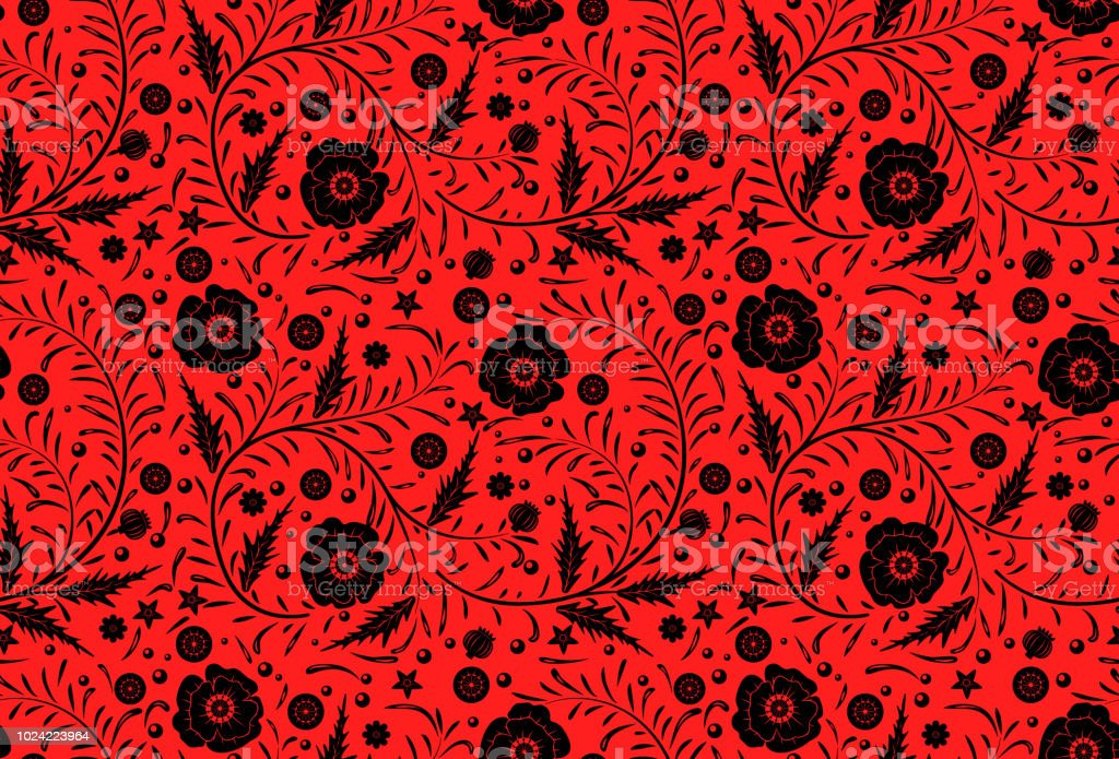 Vector Seamless Floral Pattern Design Hand Drawn Black Poppies With