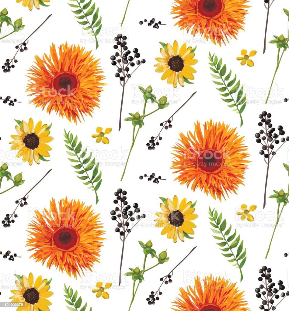 'Vector seamless floral pattern element of orange yellow gerbera flower daisy, watercolor fern, seasonal green plants, berry branch. Elegant bright autumn fall summer design illustration background  ' vector art illustration