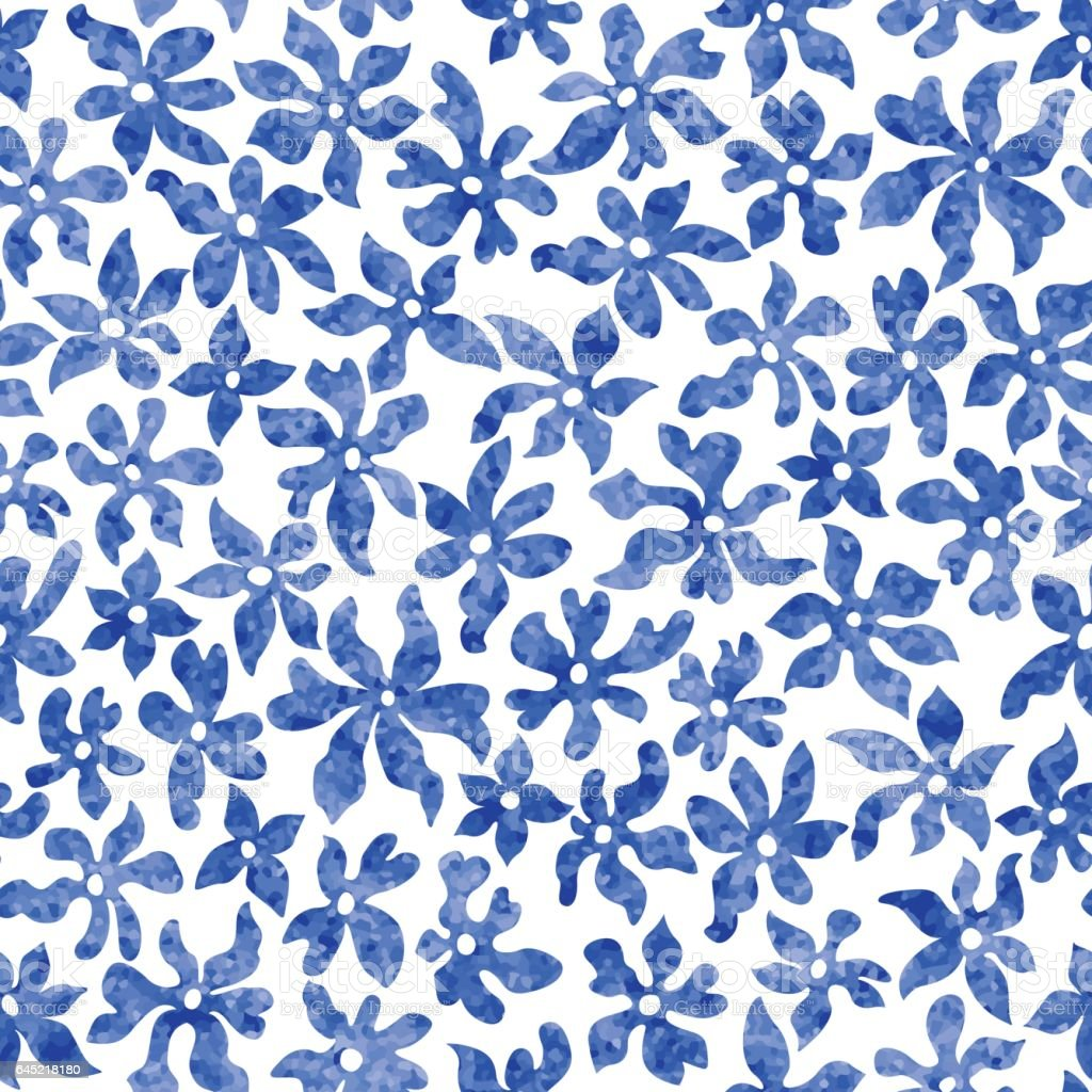 Vector Seamless Floral Pattern From Hand Drawn Stylized