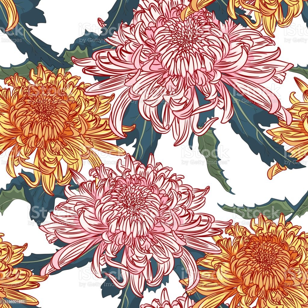 Vector Seamless Floral Pattern Japanese National Flower Pink