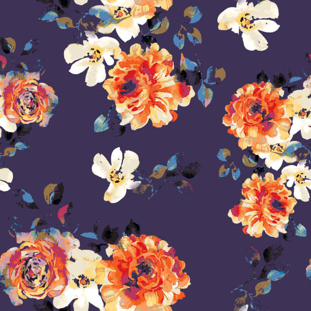 Vector seamless floral pattern Vector seamless floral pattern. Watercolor blossom roses with foliage. Opulent botanical ornament in vintage style. Fashion print for fabric, textile, texture, background, wrapper, wallpaper, surface. anniversary drawings stock illustrations