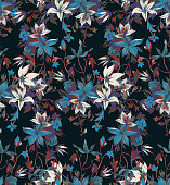 istock Vector seamless floral pattern 1213335221