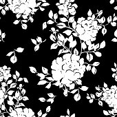 Vector seamless floral pattern. Silhouettes of large blossom roses with foliage. Plane opulent botanical ornament in vintage style. Fashion design for fabric, textile,  background, wrapper, wallpaper