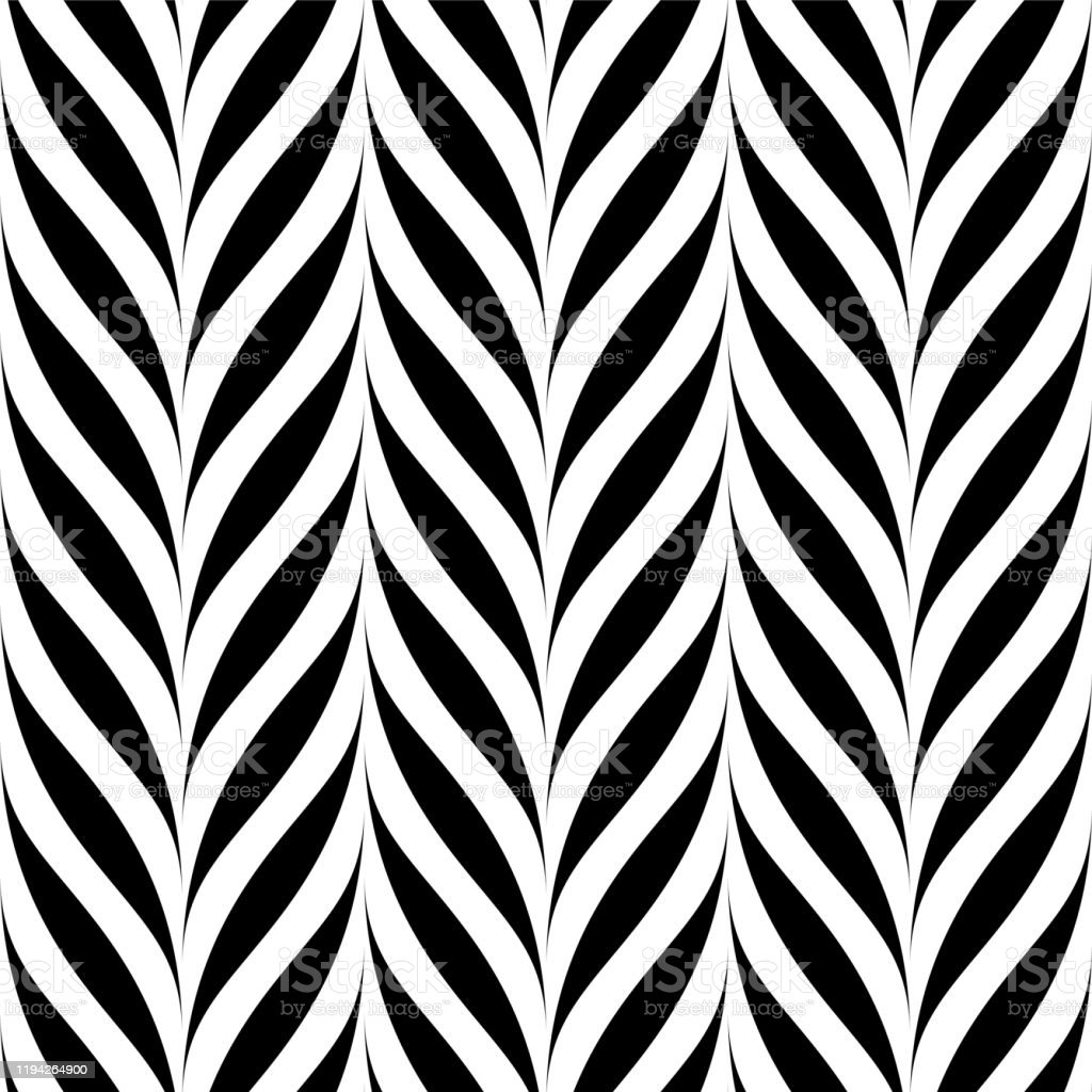 Vector Seamless Floral Pattern Weave Striped Black And White