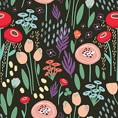 Vector seamless floral pattern with abstract doodle flowers on a dark background for textile and design.