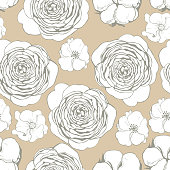 istock Vector seamless floral pattern with hand drawn flowers 1224332817