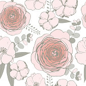 Vector seamless pattern with  pink flowers,eucalyptus leaves and cotton balls