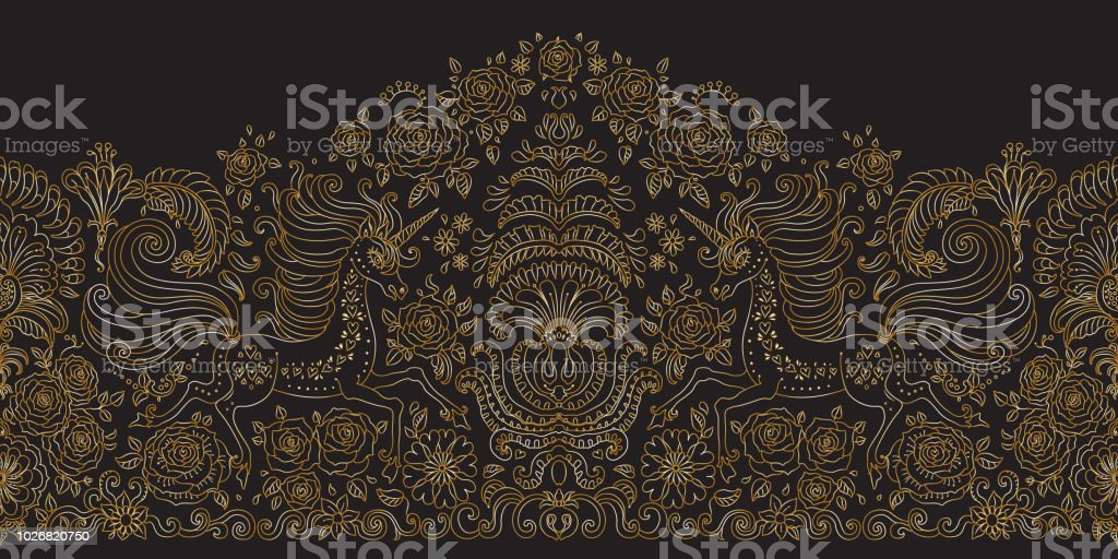 Vector seamless floral pattern with Unicorn. Metallic gold hand drawn rose flowers, fantasy leaves, fairy tale animal, ornate cute horse print on black background. Wallpaper fringe, textile border vector art illustration