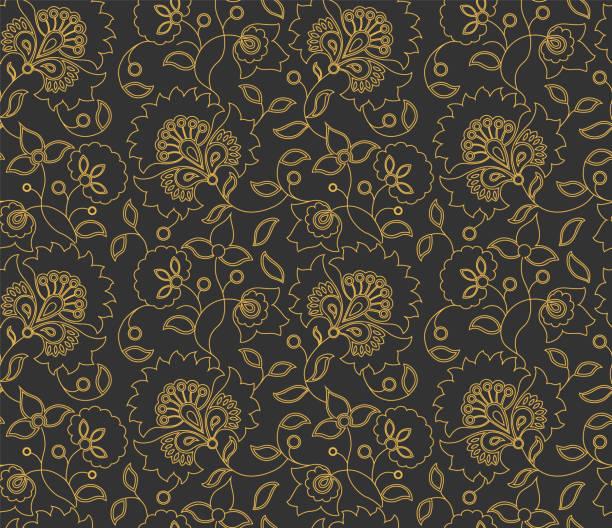 stockillustraties, clipart, cartoons en iconen met vector naadloze indiase stijl bloemenpatroon op grijze achtergrond - batik