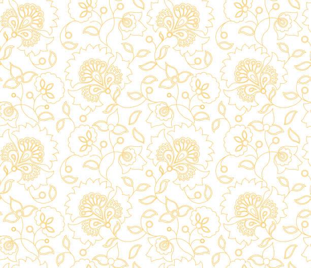 stockillustraties, clipart, cartoons en iconen met vector naadloze indiase stijl bloemenpatroon op witte achtergrond - batik