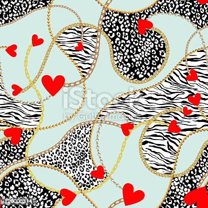 vector seamless golden chains pattern with red hearts. Realistic metallic chains, faceted beads, pearls. Valentine's day background design with leopard skin pattern and zebra skin pattern.