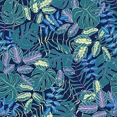 vector seamless graphical artistic colorful tropical leaves pattern