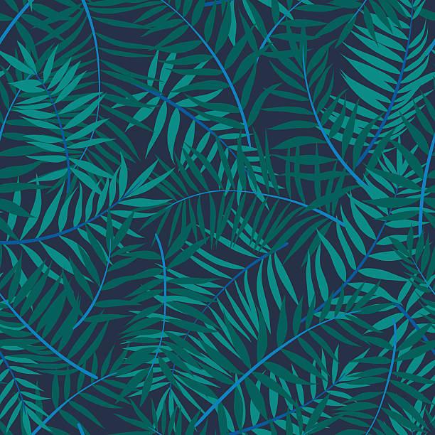 vector seamless graphical green, emerald, blue tropical foliage pattern - 葉狀花紋 幅插畫檔、美工圖案、卡通及圖標
