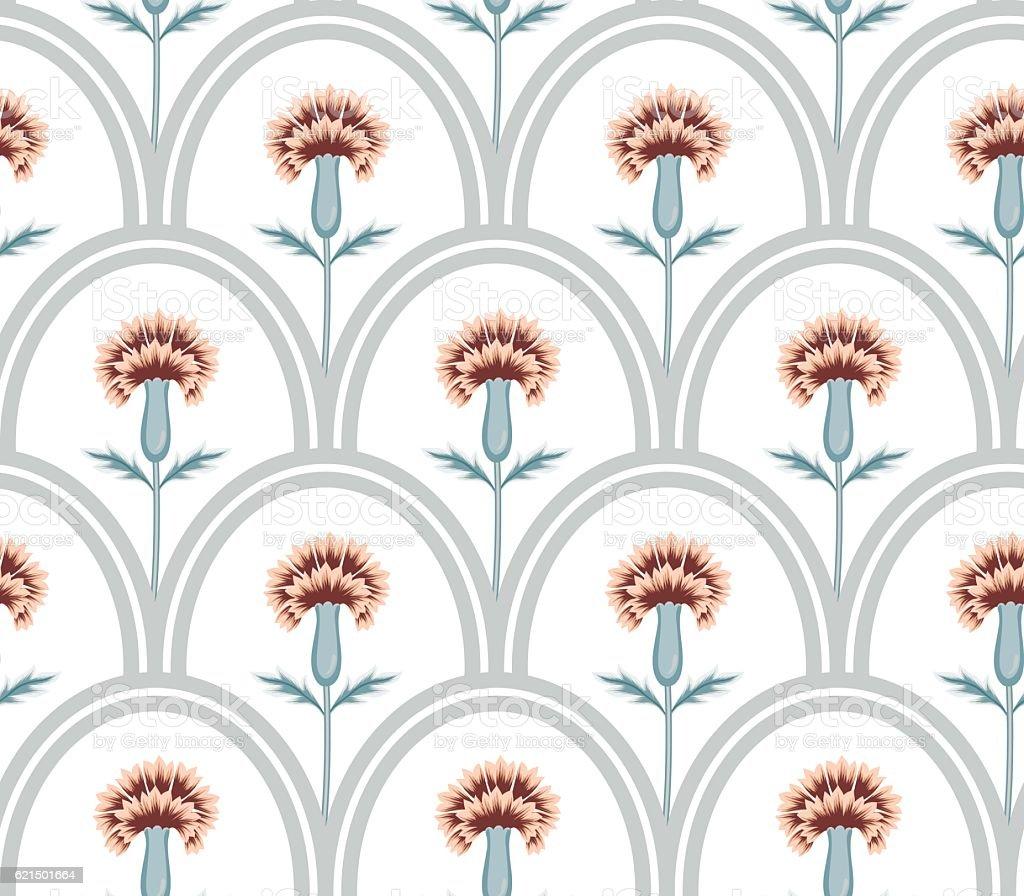 vector seamless graphical oval tiles with fantasy flowers pattern Lizenzfreies vector seamless graphical oval tiles with fantasy flowers pattern stock vektor art und mehr bilder von bildhintergrund