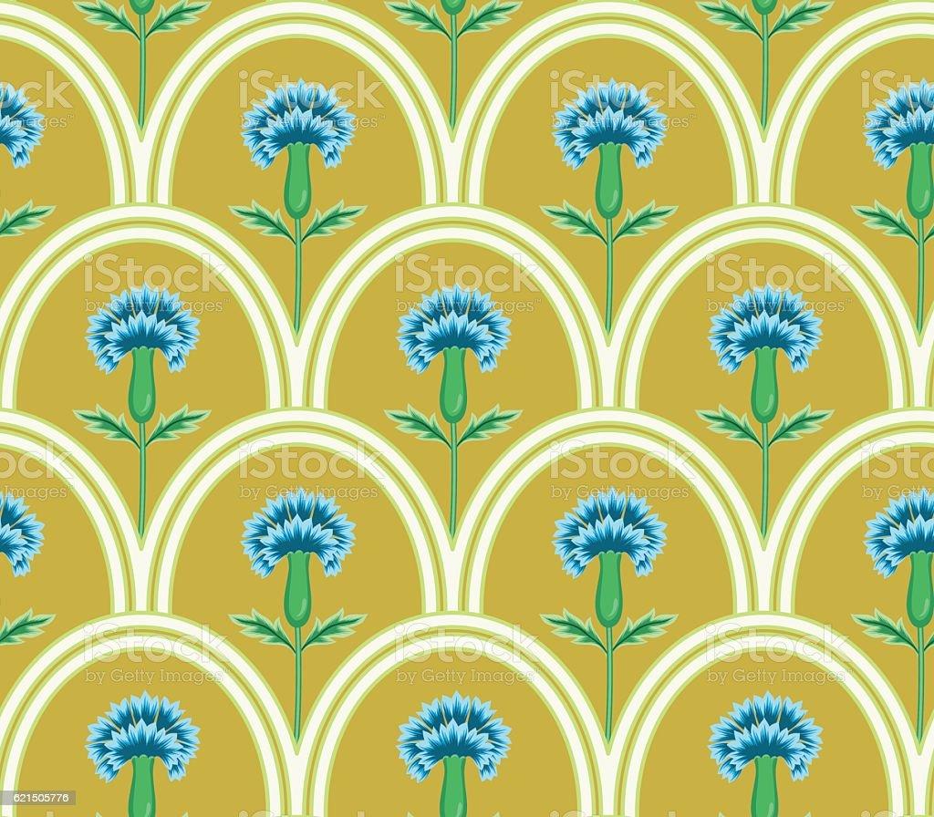 vector seamless graphical oval tiles with fantasy flowers pattern vector seamless graphical oval tiles with fantasy flowers pattern – cliparts vectoriels et plus d'images de a la mode libre de droits
