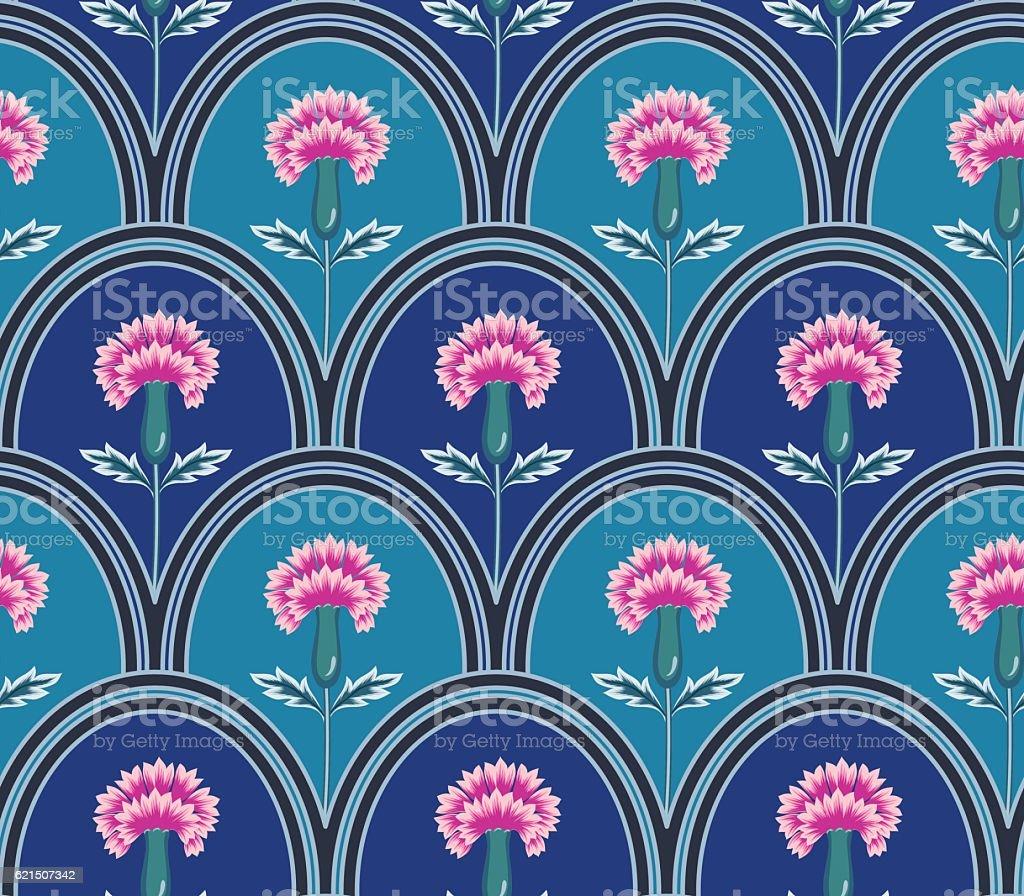 vector seamless graphical oval tiles with fantasy flowers pattern vector seamless graphical oval tiles with fantasy flowers pattern – cliparts vectoriels et plus d'images de décoration de fête libre de droits