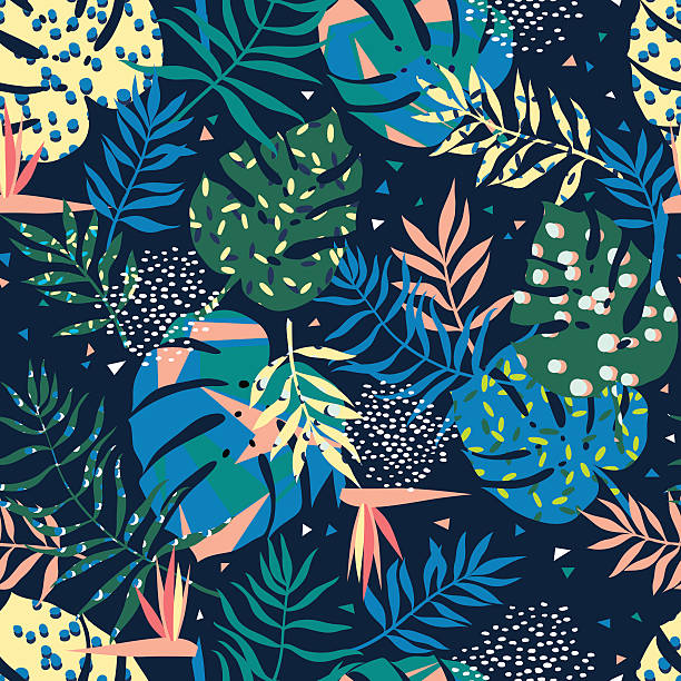 vector seamless graphical tropical leaves bright pattern with vibrant texture vector seamless graphical tropical leaves bright pattern with vibrant texture in pop art style, modern summer background allover print. split leaf, philodendron, monstera leaves natural pattern stock illustrations