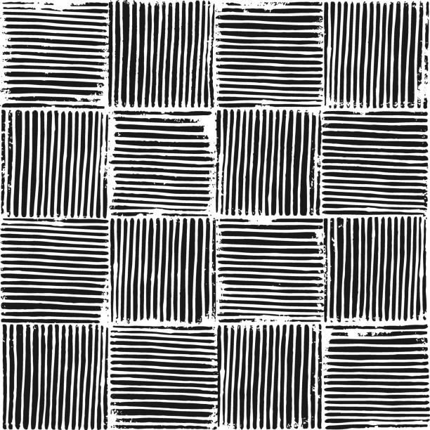 Vector seamless grunge blockprint texture illustration. Vector seamless grunge blockprint texture illustration. Created from hand crafted linocut pattern. linocut stock illustrations