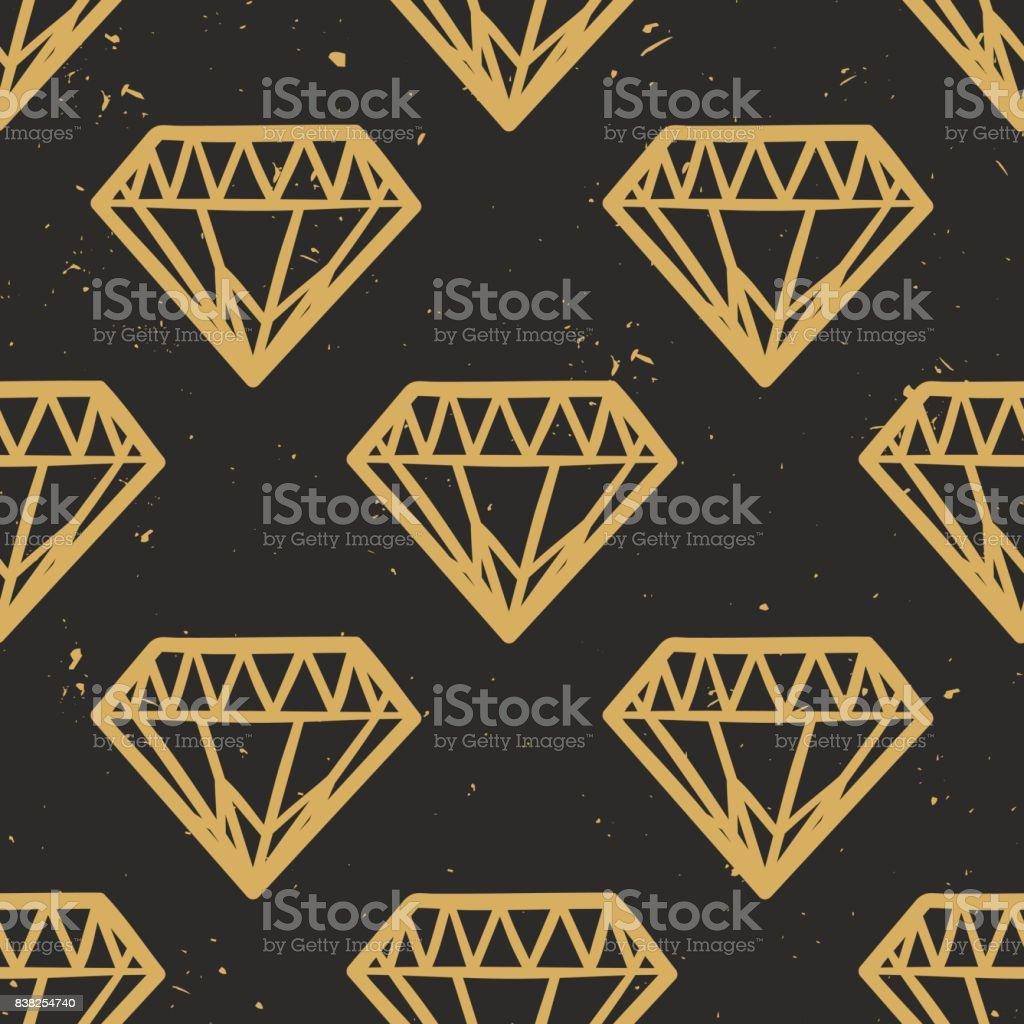 Nahtlose Grunge Vektormuster mit Vintage Diamanten. Rock And Roll-Stil. Trendige Hipster Design. Moderne Gold und schwarze Farben. – Vektorgrafik