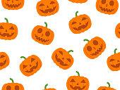 Vector seamless Halloween pattern with pumpkin devil on white background