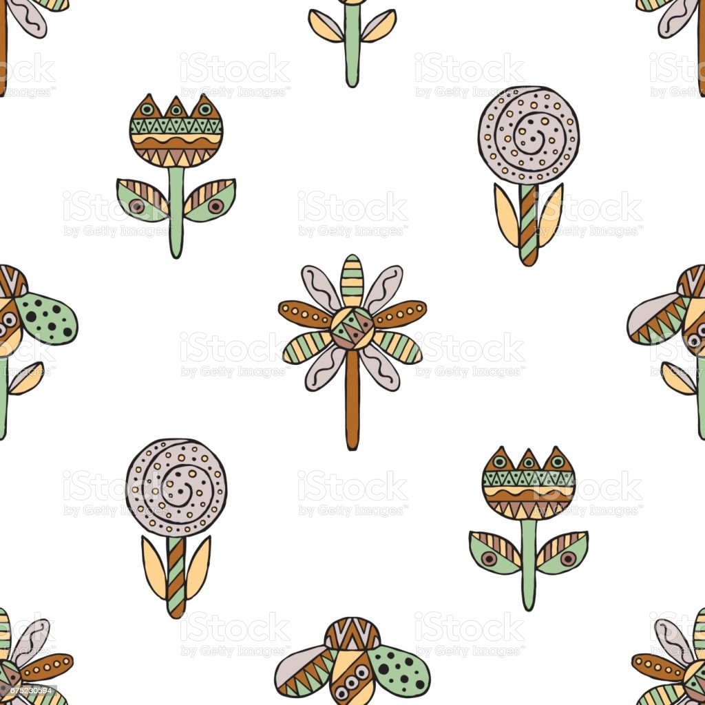 Vector seamless hand drawn pattern, decorative stylized childish flowers Doodle style, tribal graphic illustration Ornamental cute hand drawing in vintage colors Series of doodle, cartoon, sketch illustrations royalty-free vector seamless hand drawn pattern decorative stylized childish flowers doodle style tribal graphic illustration ornamental cute hand drawing in vintage colors series of doodle cartoon sketch illustrations stock vector art & more images of art