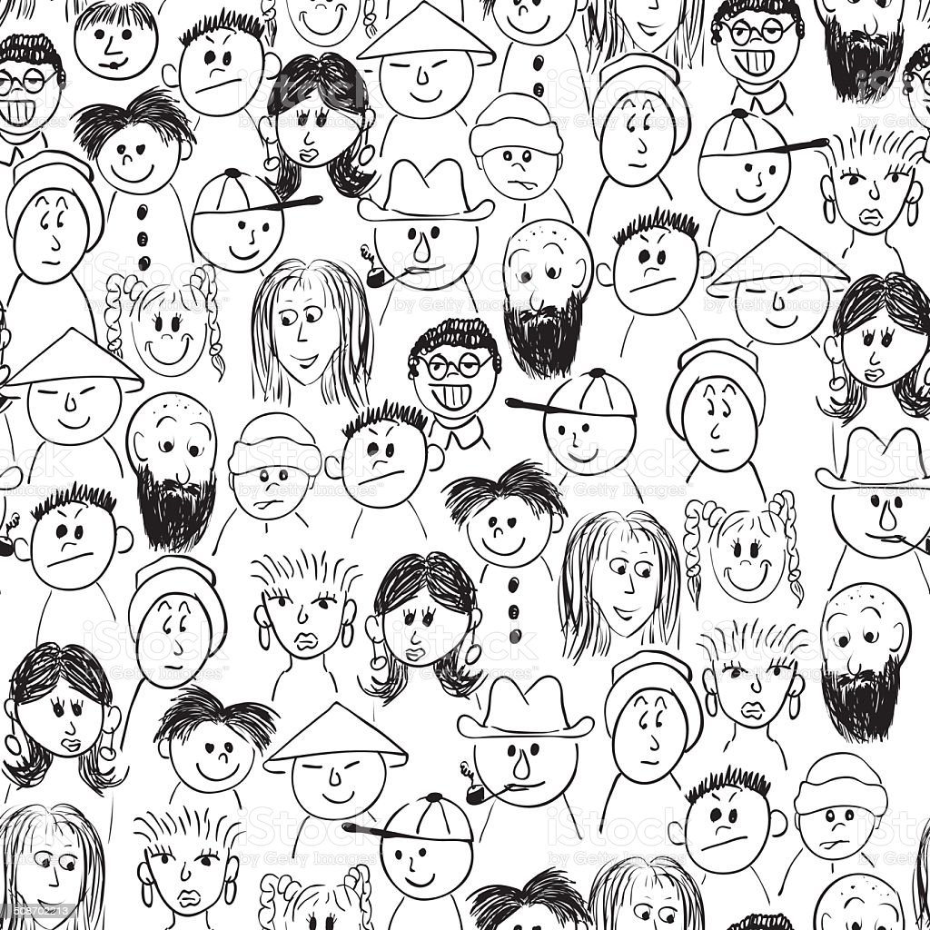 Vector seamless hand-drawn pattern crowd of people vector art illustration