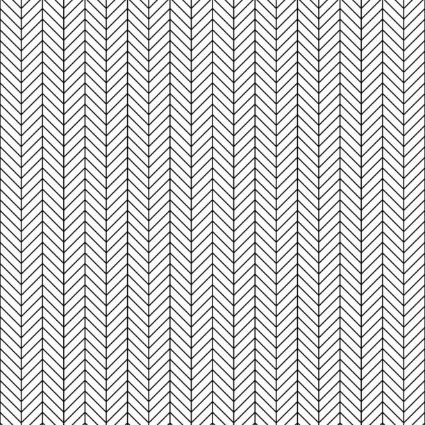 illustrazioni stock, clip art, cartoni animati e icone di tendenza di vector seamless herringbone pattern. geometric line texture. black-and-white background. monochrome design. - zigzag