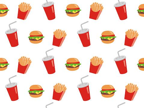 Vector seamless illustration of fast food.