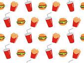Vector seamless illustration of fast food. Vector pattern.