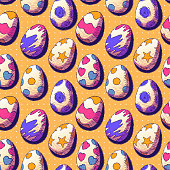 Vector seamless illustration - Painted Easter eggs.