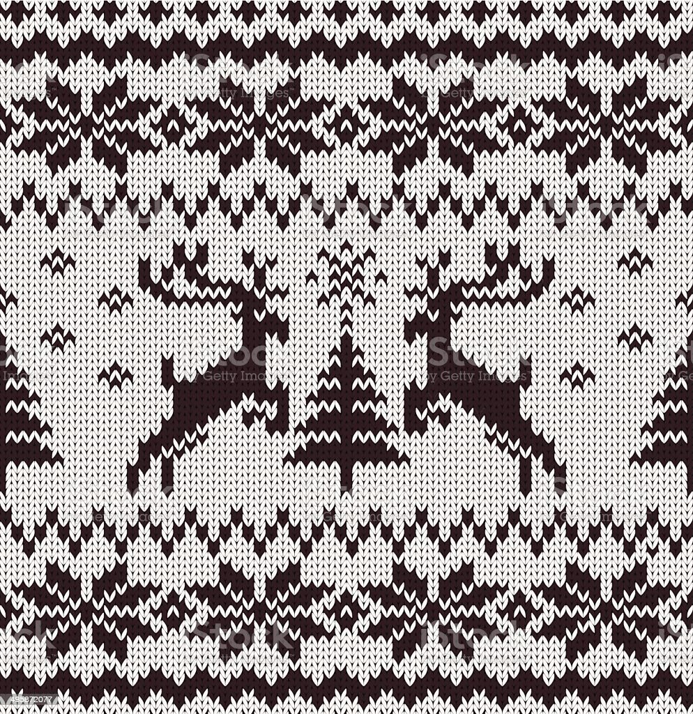 Vector Seamless Knitted Pattern with Deers royalty-free stock vector art