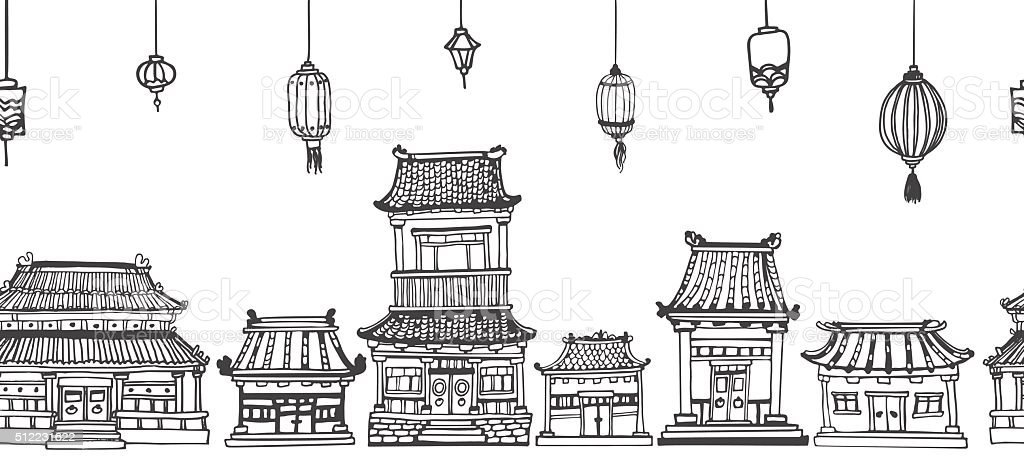 Vector seamless line panorama of asian old town vector art illustration