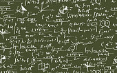 Vector Seamless Mathematic Equations Wallpaper Background. Hand written.