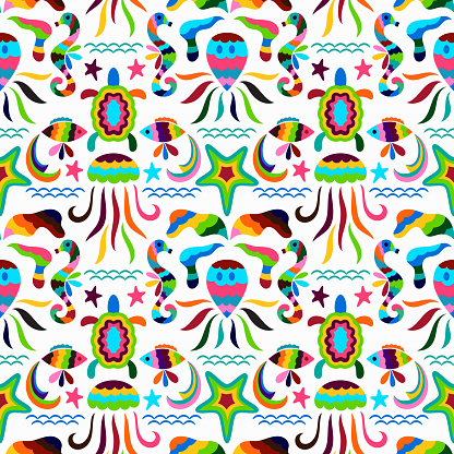 Vector Seamless Mexican Background.