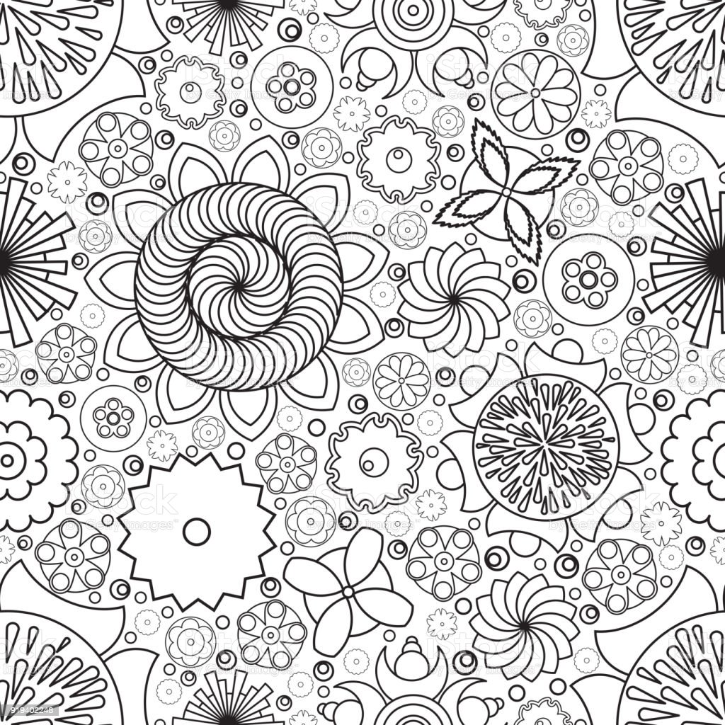 Vector Seamless Monochrome Floral Pattern Imitation Of Hand Drawn Flower Doodle Texture Decorative Coloring