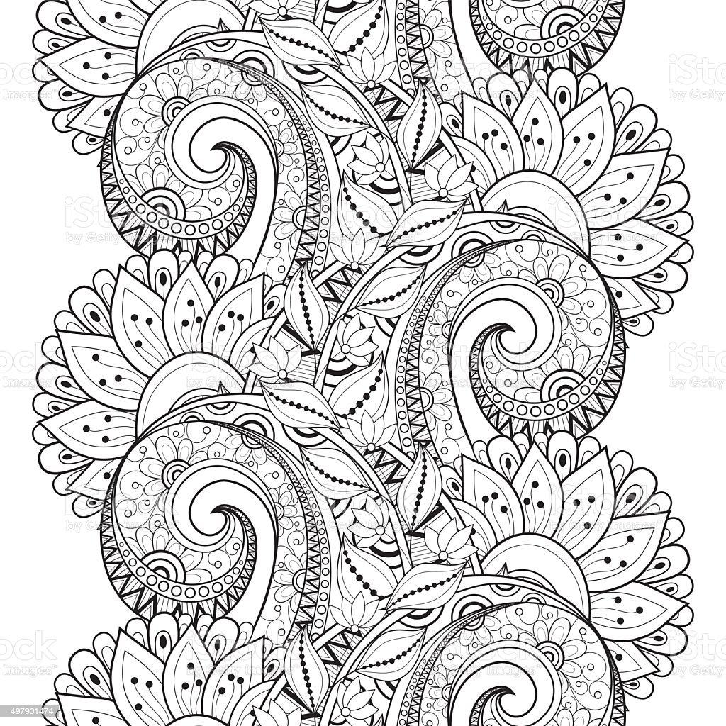 Vector Seamless Monochrome Floral Pattern vector art illustration
