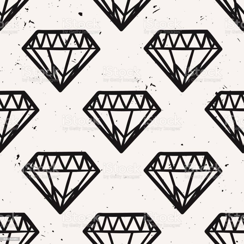 Nahtlose monochrome Grunge Vektormuster mit Vintage Diamanten. Rock And Roll-Stil. Trendige Hipster Design. – Vektorgrafik