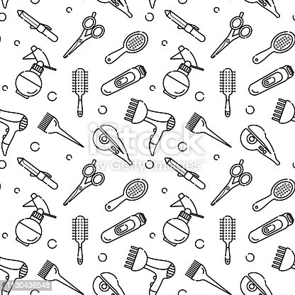 Vector seamless monochrome pattern for hairdresser. Tools for the master in the beauty salon. Hair dryer for drying hair. Linear style vector objects