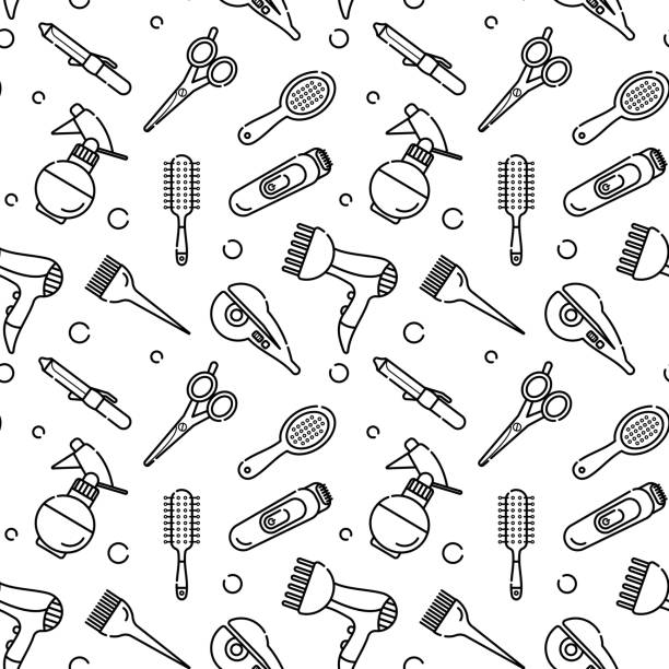 vector seamless monochrome pattern for hairdresser. tools for the master in the beauty salon. hair dryer for drying hair. linear style vector objects - hairdresser stock illustrations