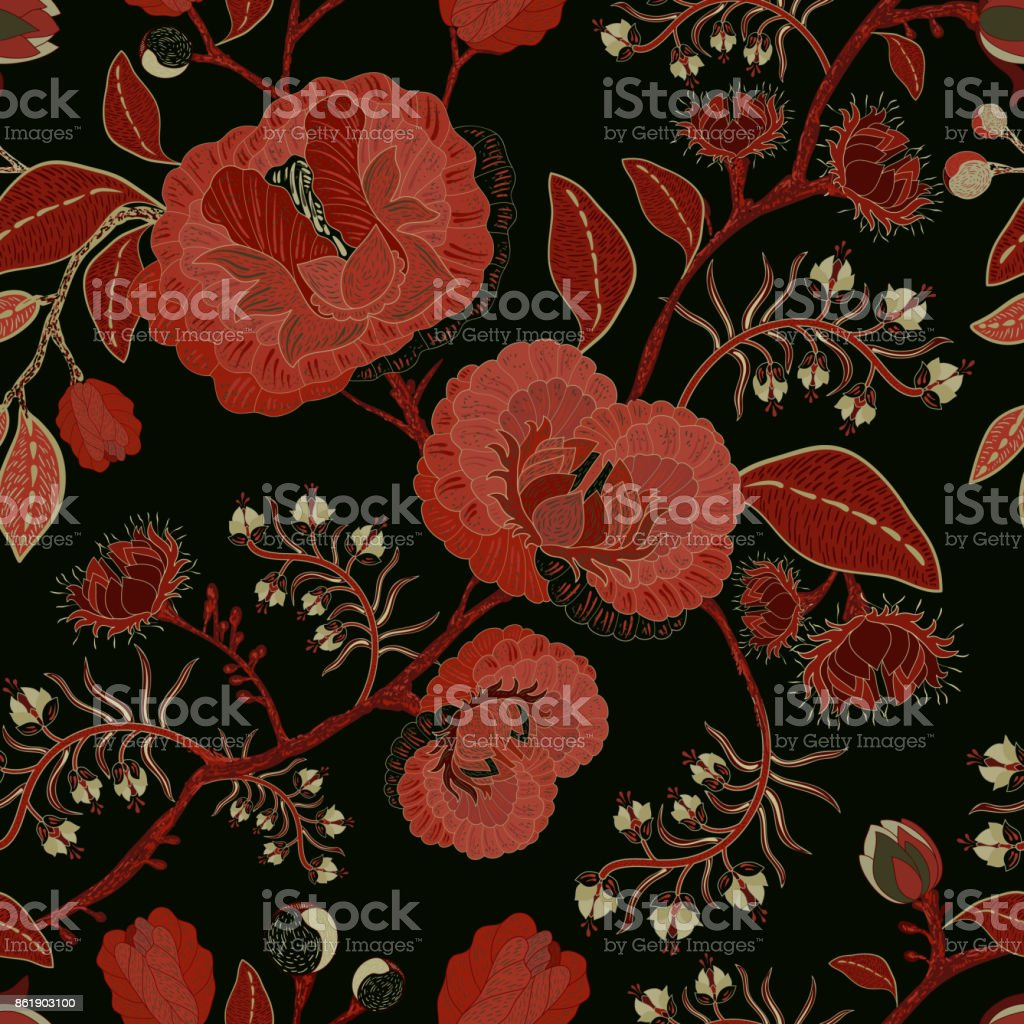 Vector Seamless Nature Pattern Background With Big Decorative