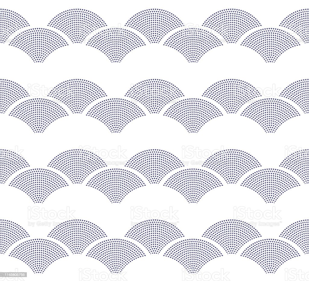 Vector Seamless Nautical Pattern From Dark Indigo Blue Small