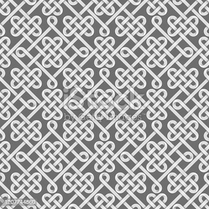 Seamless pattern of gold stripes weaved like celtic knots. Vector repeating illustration.