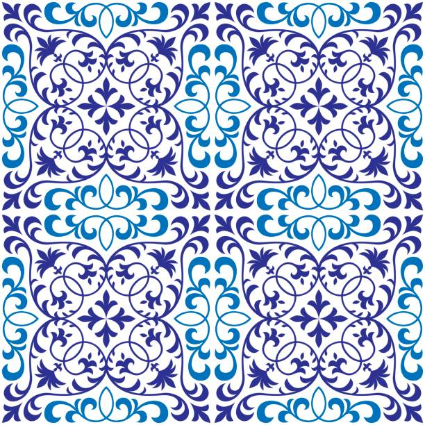 Vector seamless ornate oriental tile pattern Seamless patchwork pattern from ornate tiles, ornaments. Can be used for wallpaper, pattern fills, web page background,surface textures. pacific dogwood stock illustrations