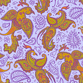 Vector seamless pattern. Firebirds and floral elements in Paisley style.
