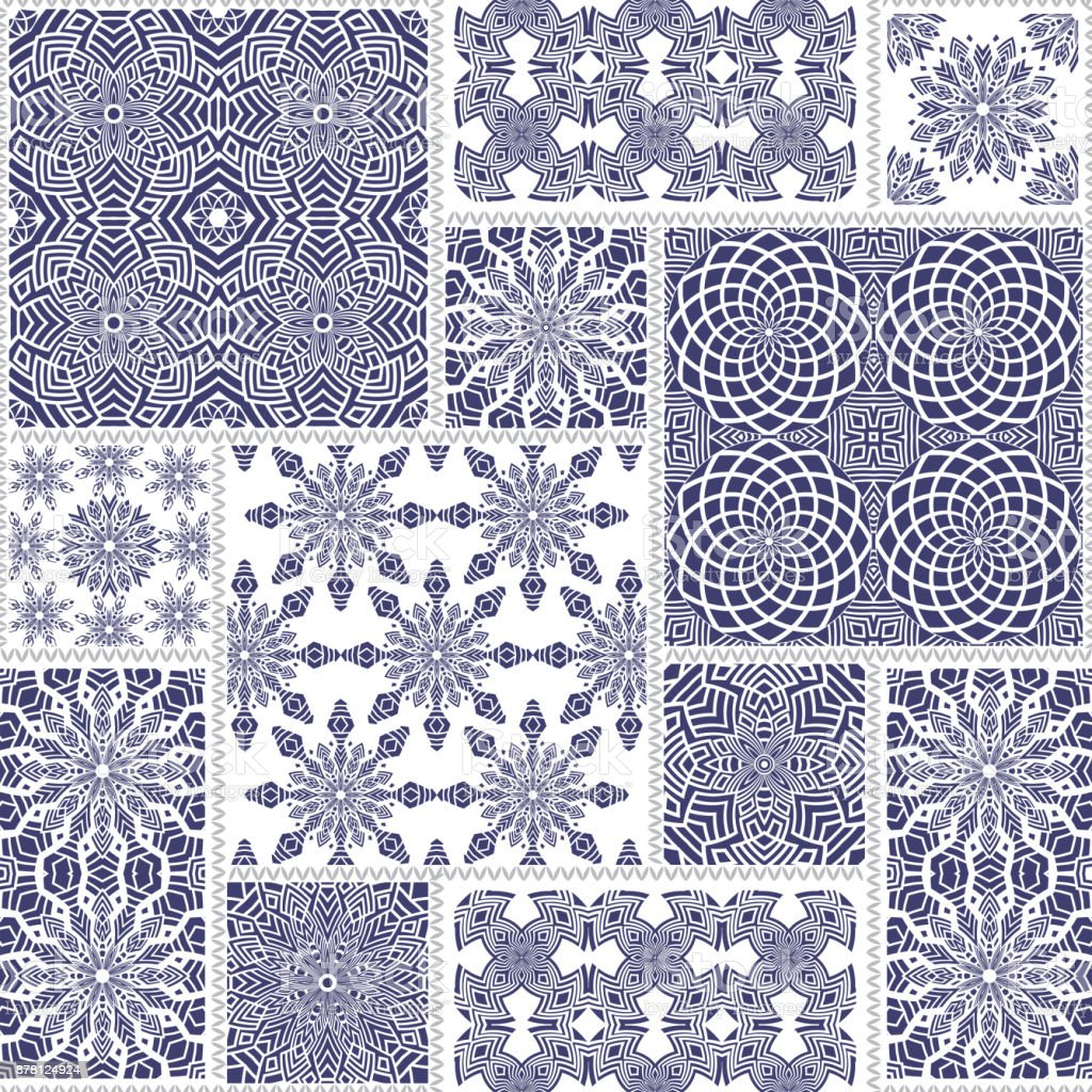 Vector seamless patchwork pattern from blue and white oriental ornaments, round and square rosette, stylized indigo flowers, leaves. Geometrical textile print, pillow embroidery. Art deco wallpaper vector art illustration