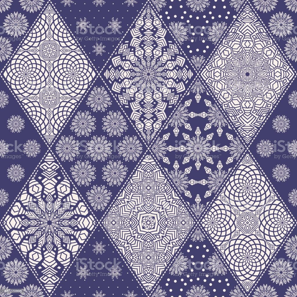Vector seamless patchwork pattern from indigo blue and white oriental ornaments, rhombus rosette, stylized flower, star, snowflake. Geometrical  textile print,  pillow embroidery. Art deco wallpaper vector art illustration