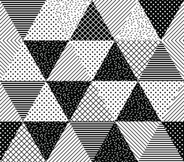 Vector Seamless Pattern. Abstract Geometric Vector Seamless Pattern. Abstract Geometric Black and White Doted Linear Triangle, Stylish Tiles with different ornament, Retro illustration. Simple background of perforated rhombus neo classical stock illustrations