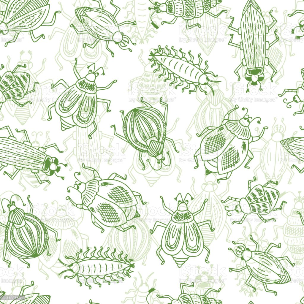 Vector Seamless pattern of doodle Cartoon Bugs