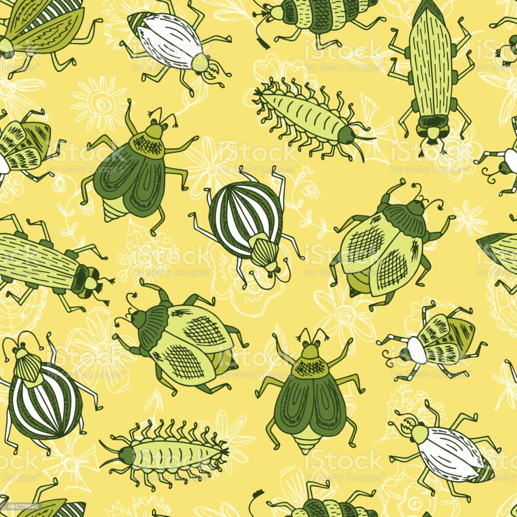 Green beetles. Vector Seamless pattern of doodle Cartoon Bugs