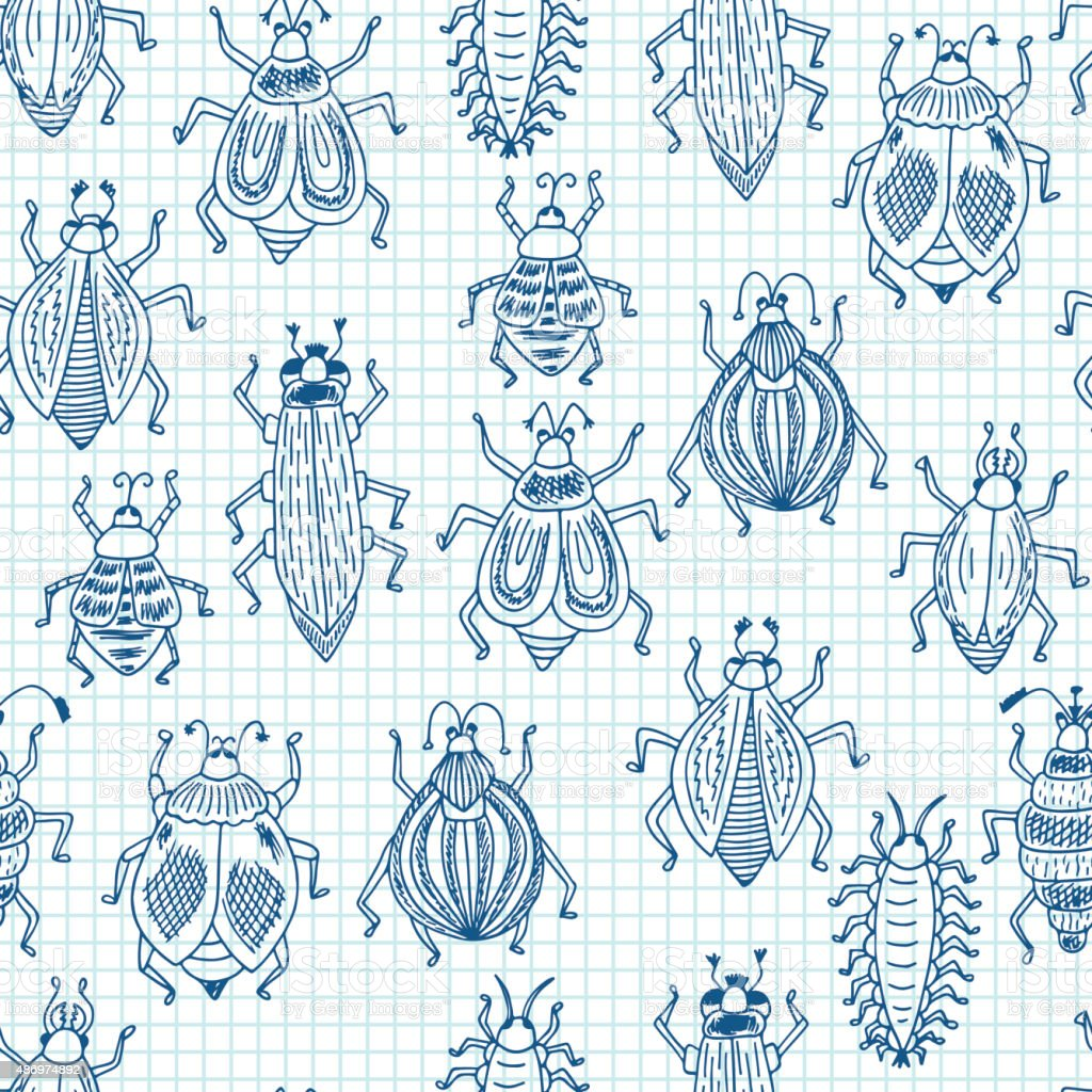 Funny insects. Vector Seamless pattern of doodle Cartoon Beetles on a...